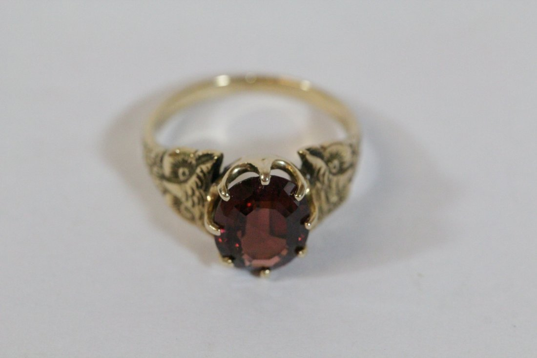 Victorian 14K ring, center possible garnet - 8