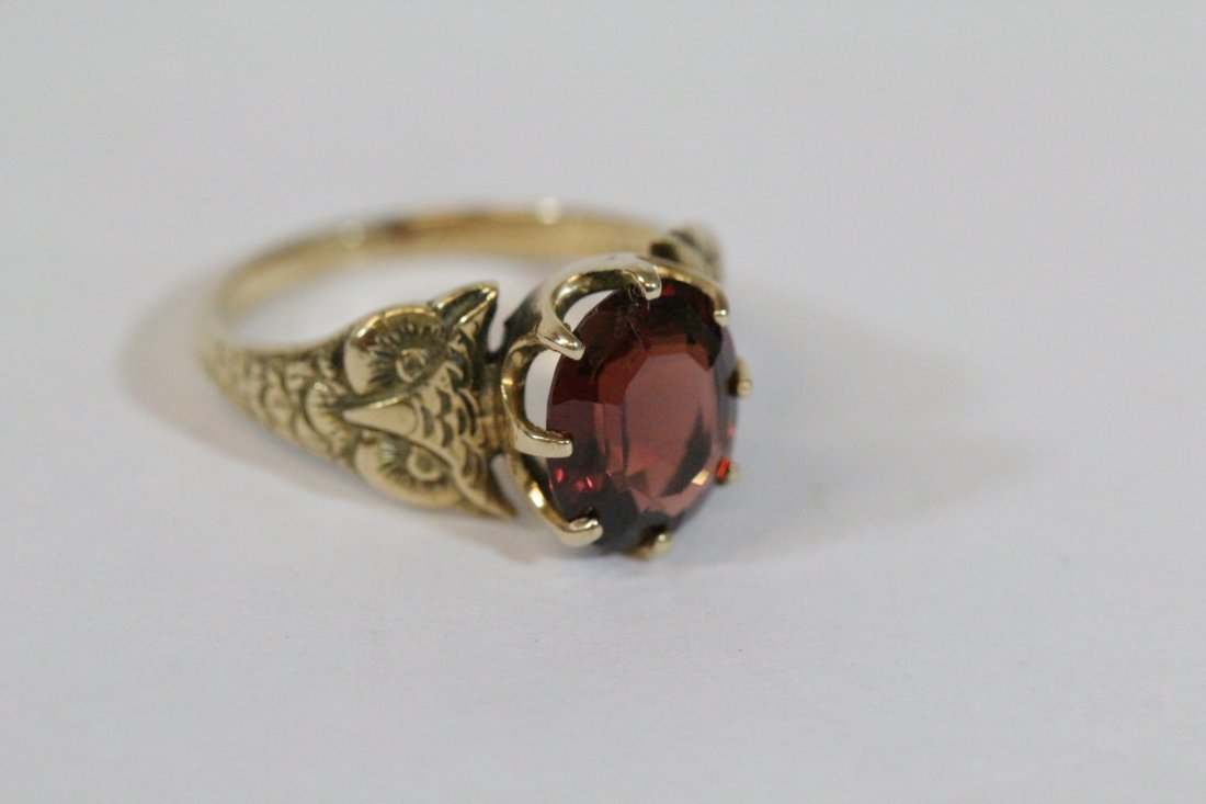 Victorian 14K ring, center possible garnet - 9