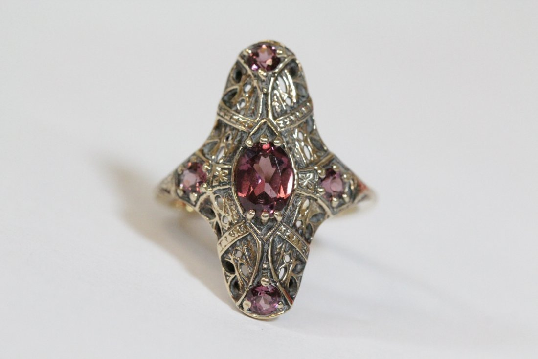 Victorian 14K rose gold ring, center possible topaz