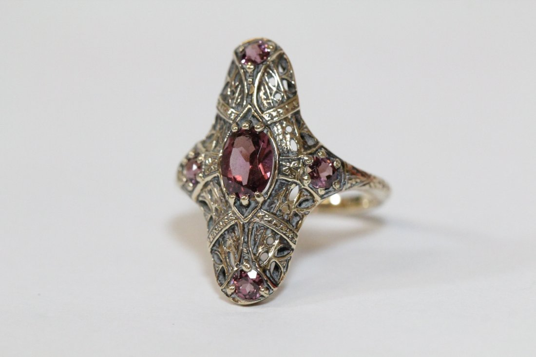 Victorian 14K rose gold ring, center possible topaz - 2