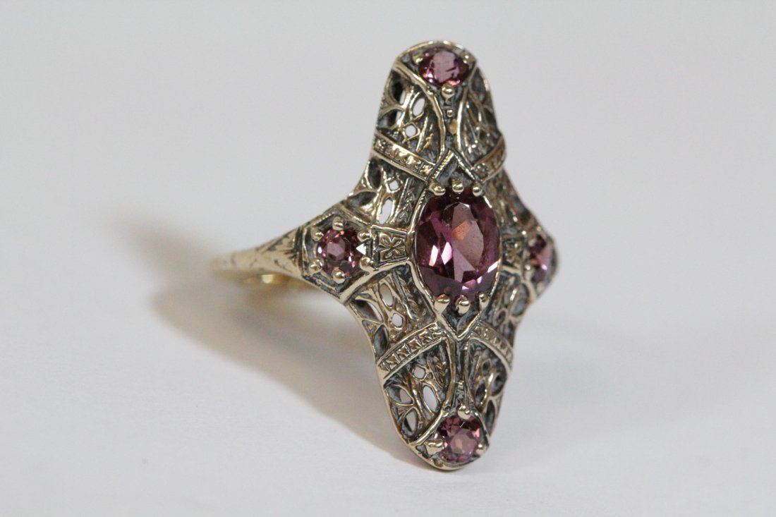 Victorian 14K rose gold ring, center possible topaz - 3