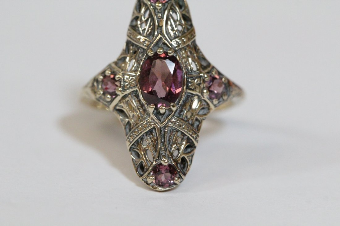 Victorian 14K rose gold ring, center possible topaz - 5