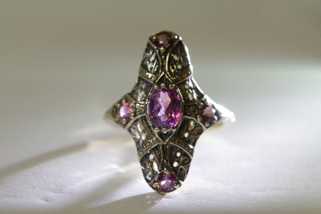 Victorian 14K rose gold ring, center possible topaz - 6