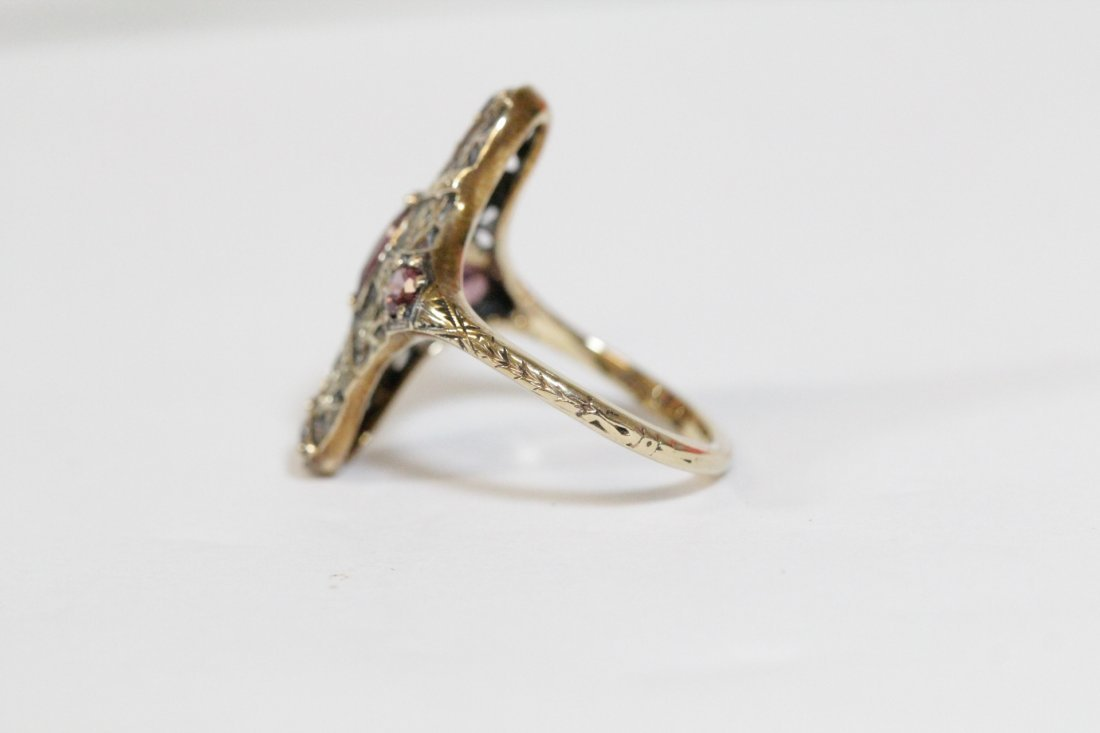 Victorian 14K rose gold ring, center possible topaz - 7