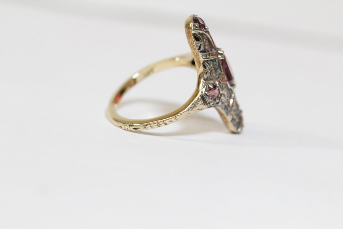 Victorian 14K rose gold ring, center possible topaz - 8
