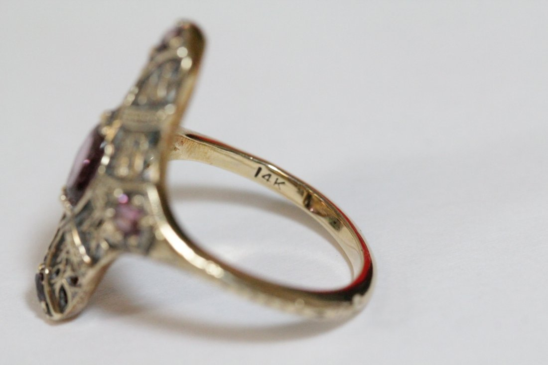 Victorian 14K rose gold ring, center possible topaz - 9