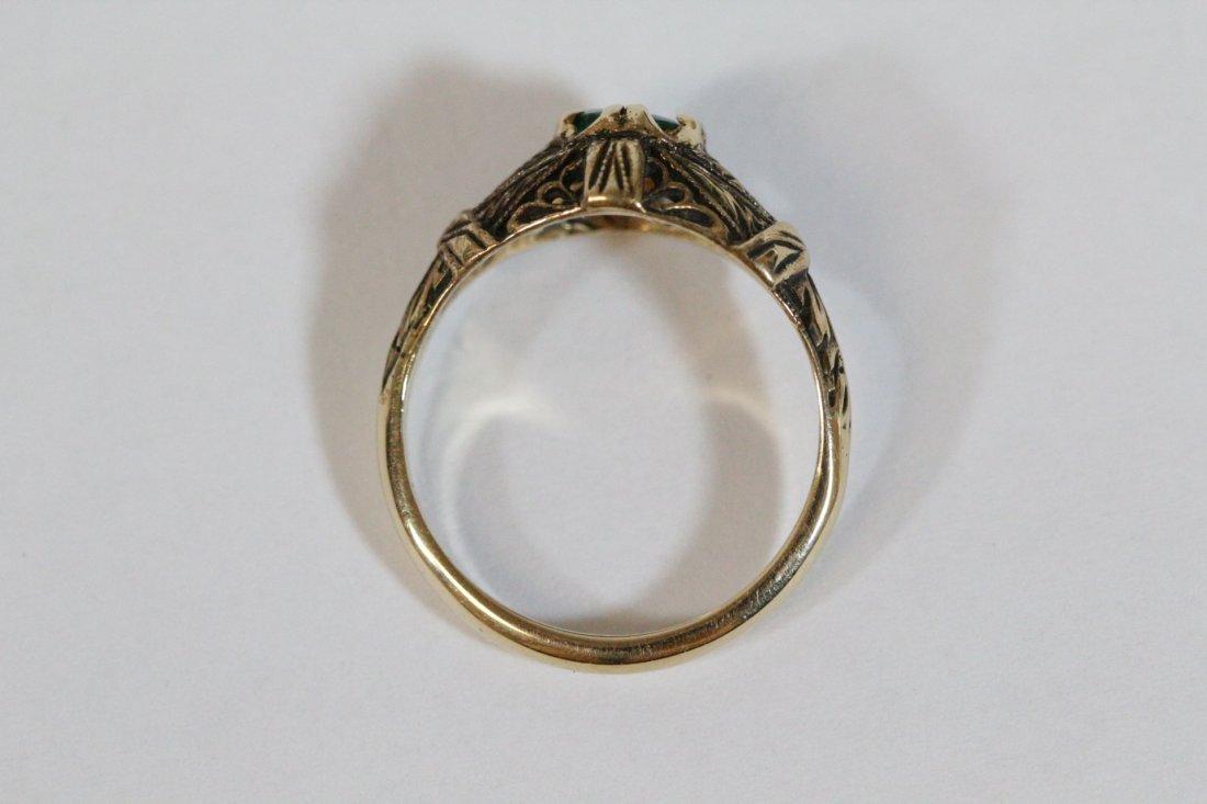 14K Y/G Victorian emerald ring - 10