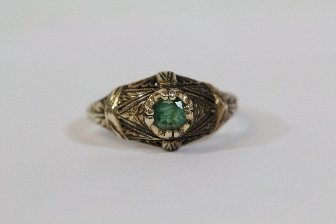14K Y/G Victorian emerald ring