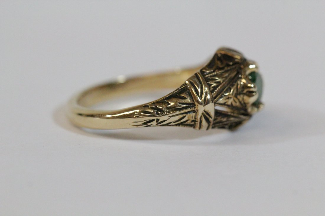 14K Y/G Victorian emerald ring - 3