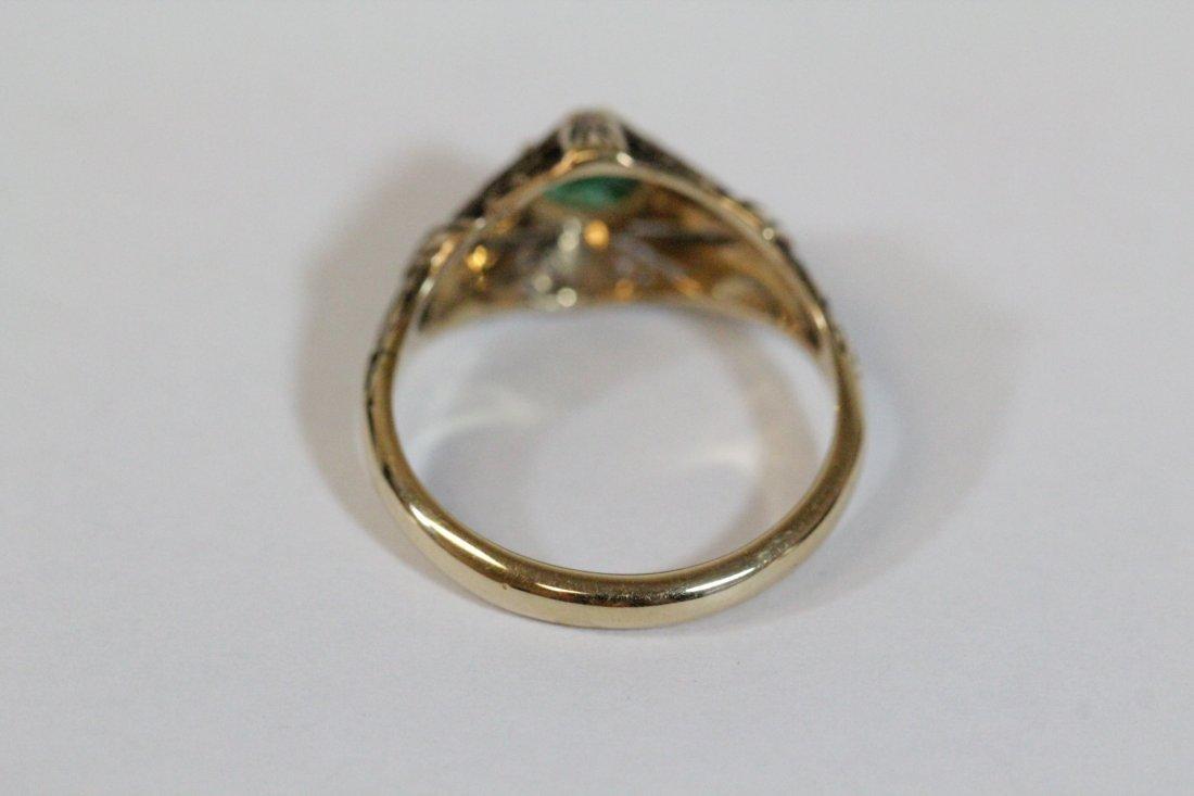 14K Y/G Victorian emerald ring - 4