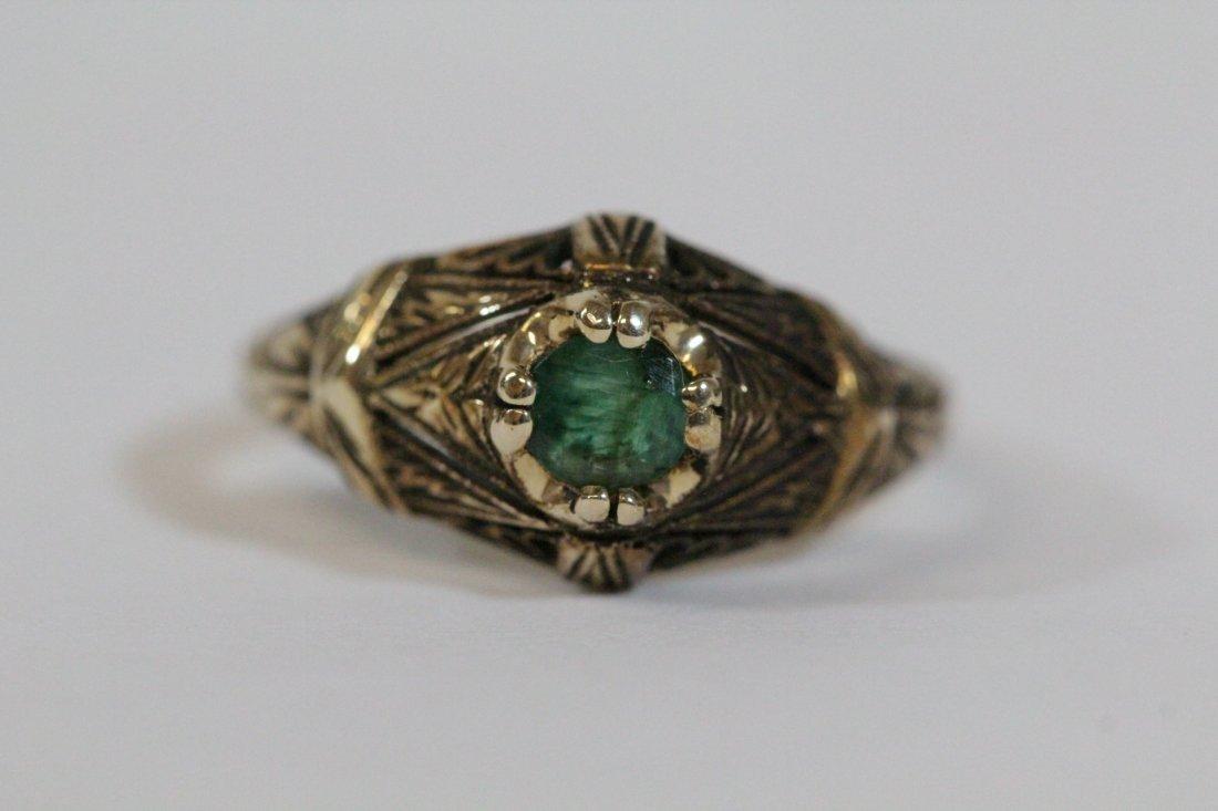 14K Y/G Victorian emerald ring - 6