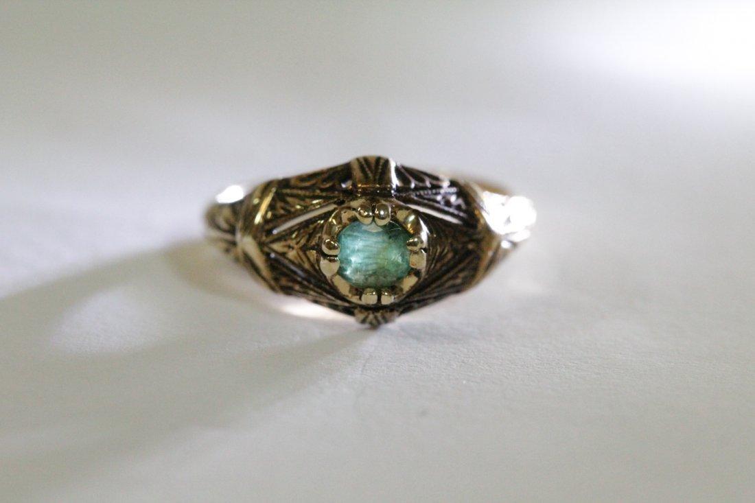 14K Y/G Victorian emerald ring - 7