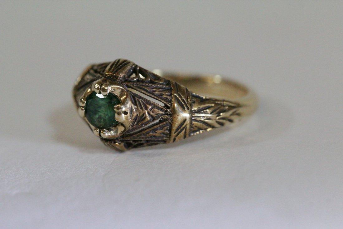 14K Y/G Victorian emerald ring - 8
