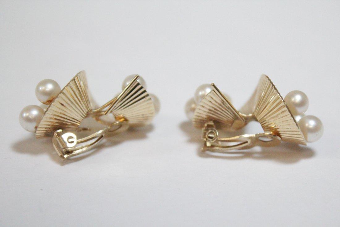 Pair art nouveau 14K Y/G pearls earrings - 2