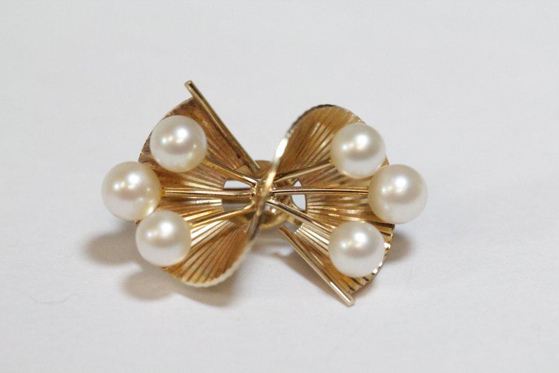 Pair art nouveau 14K Y/G pearls earrings - 3