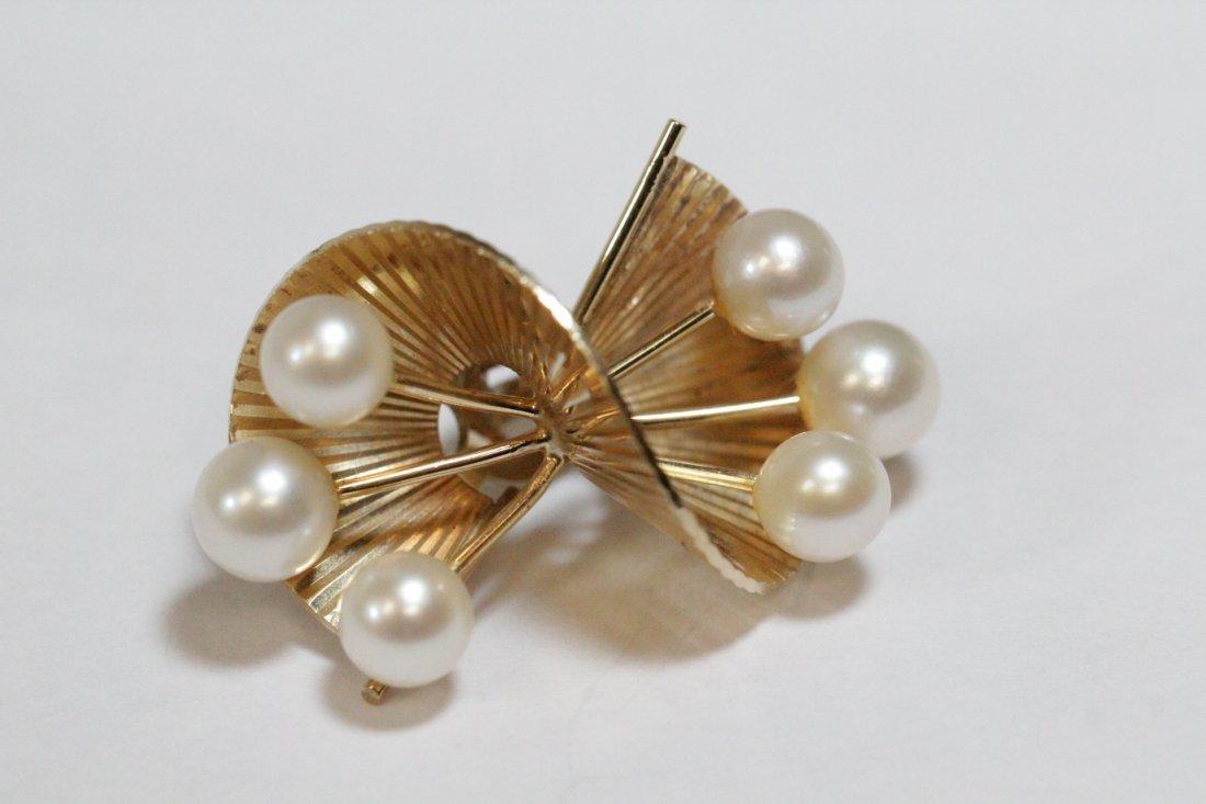 Pair art nouveau 14K Y/G pearls earrings - 4