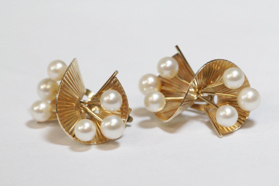 Pair art nouveau 14K Y/G pearls earrings - 5