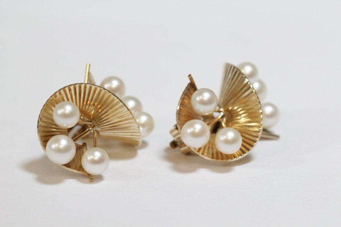Pair art nouveau 14K Y/G pearls earrings - 6