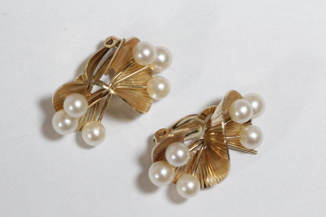 Pair art nouveau 14K Y/G pearls earrings - 7