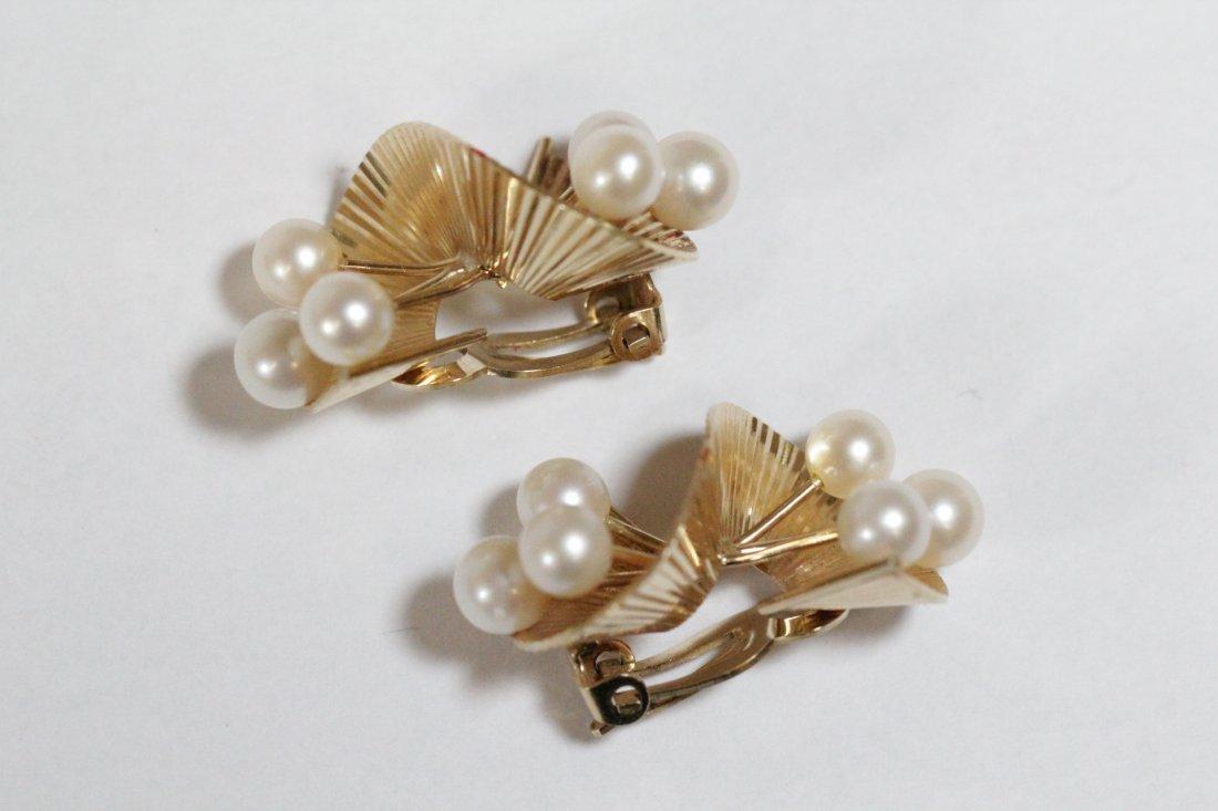 Pair art nouveau 14K Y/G pearls earrings - 8