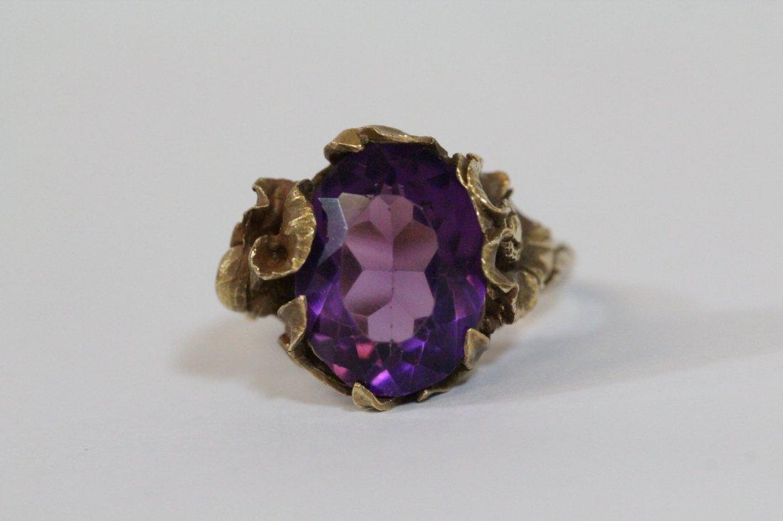 Victorian 14K Y/G amethyst ring