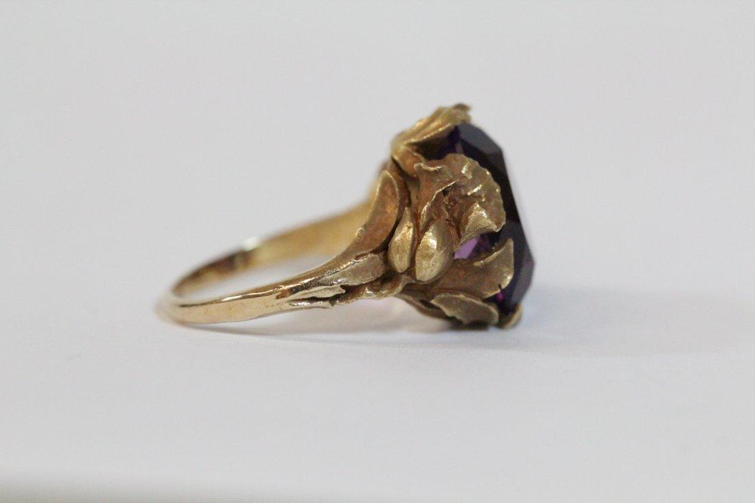 Victorian 14K Y/G amethyst ring - 4