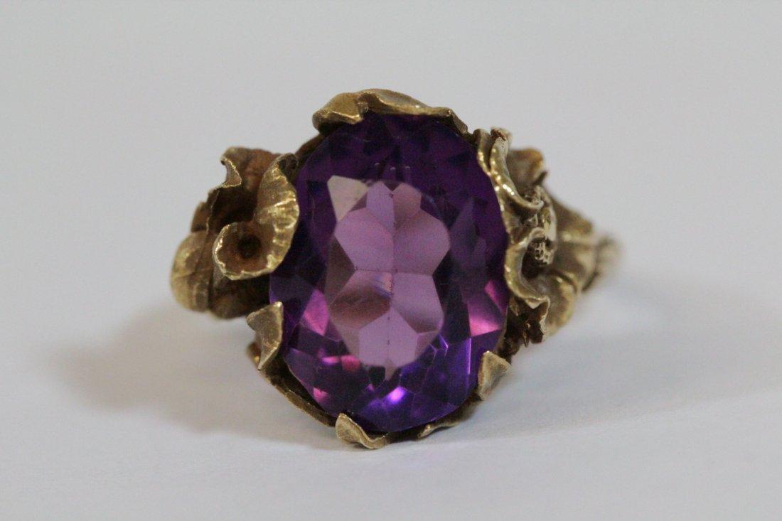 Victorian 14K Y/G amethyst ring - 8