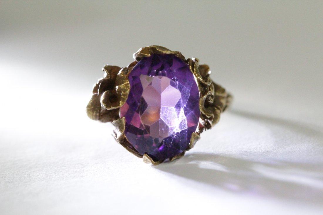 Victorian 14K Y/G amethyst ring - 9
