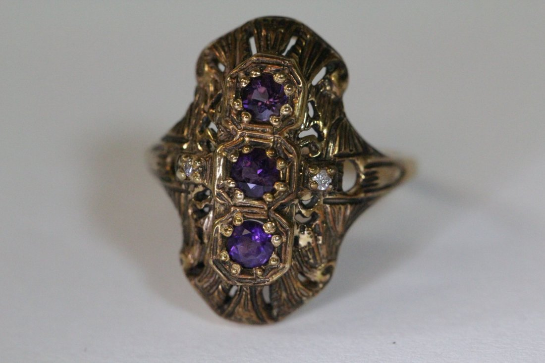 Victorian 14K ring with amethysts & diamond - 10