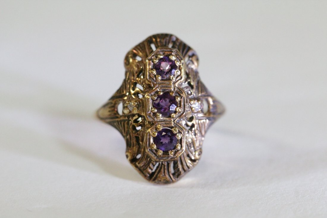 Victorian 14K ring with amethysts & diamond - 2