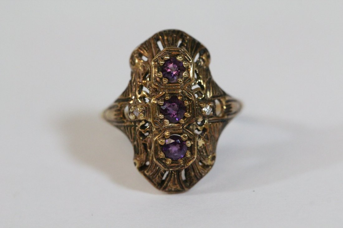 Victorian 14K ring with amethysts & diamond - 7