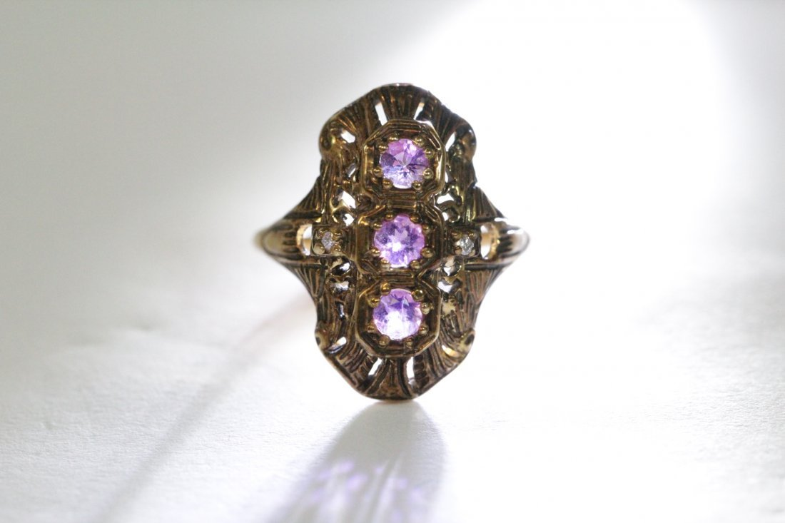 Victorian 14K ring with amethysts & diamond - 8
