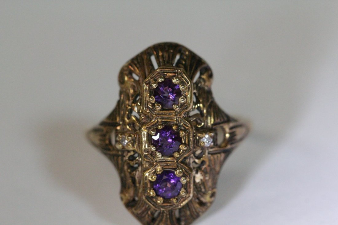 Victorian 14K ring with amethysts & diamond - 9