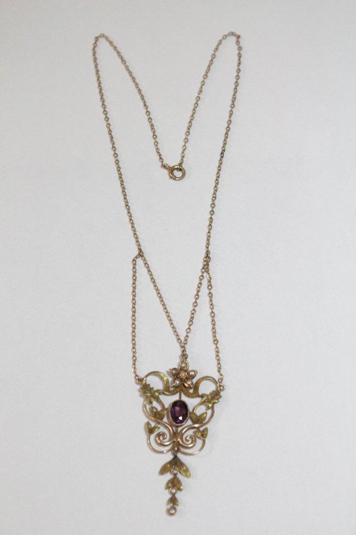 Victorian 10K amethyst & pearl pendant w/ necklace