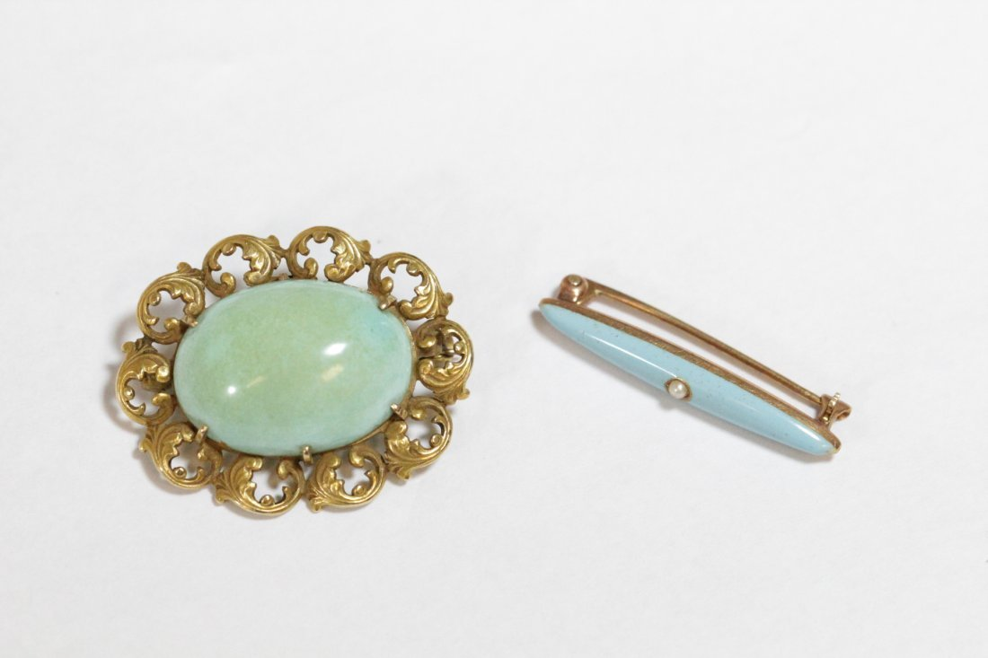 2 Victorian 14K brooches with Persian turquoise