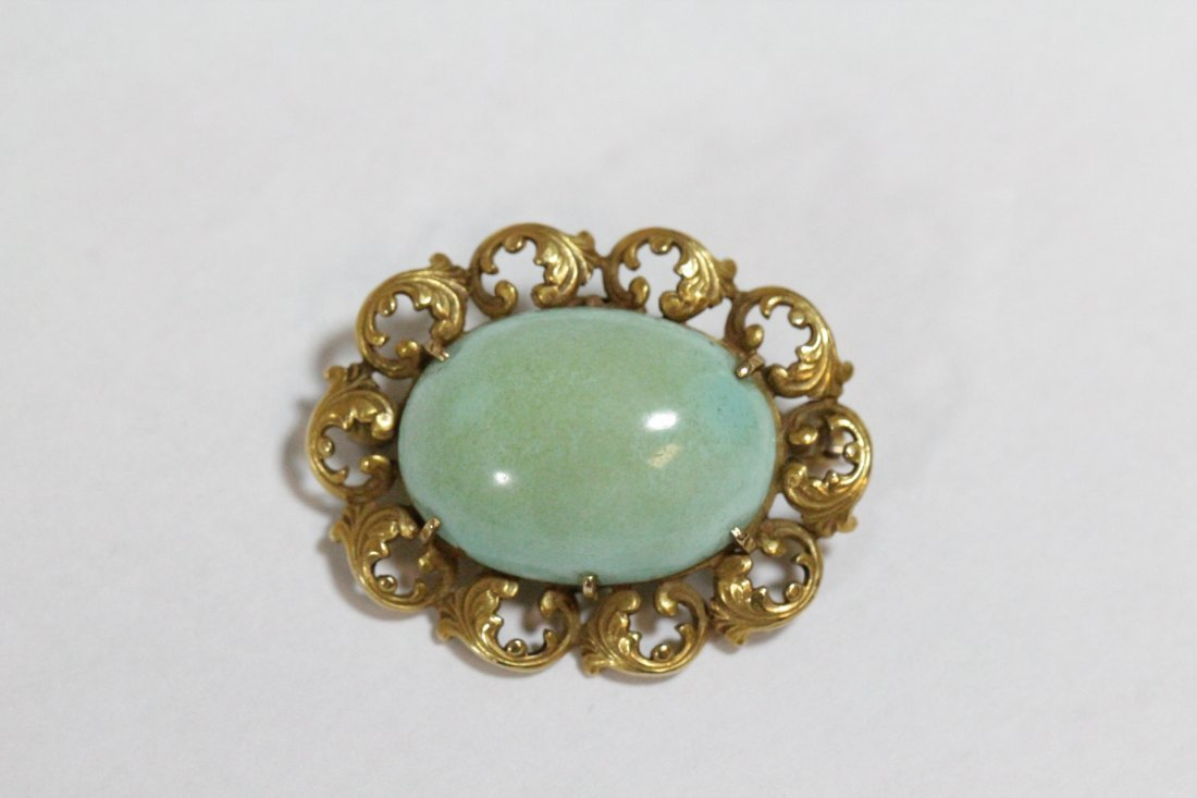2 Victorian 14K brooches with Persian turquoise - 3