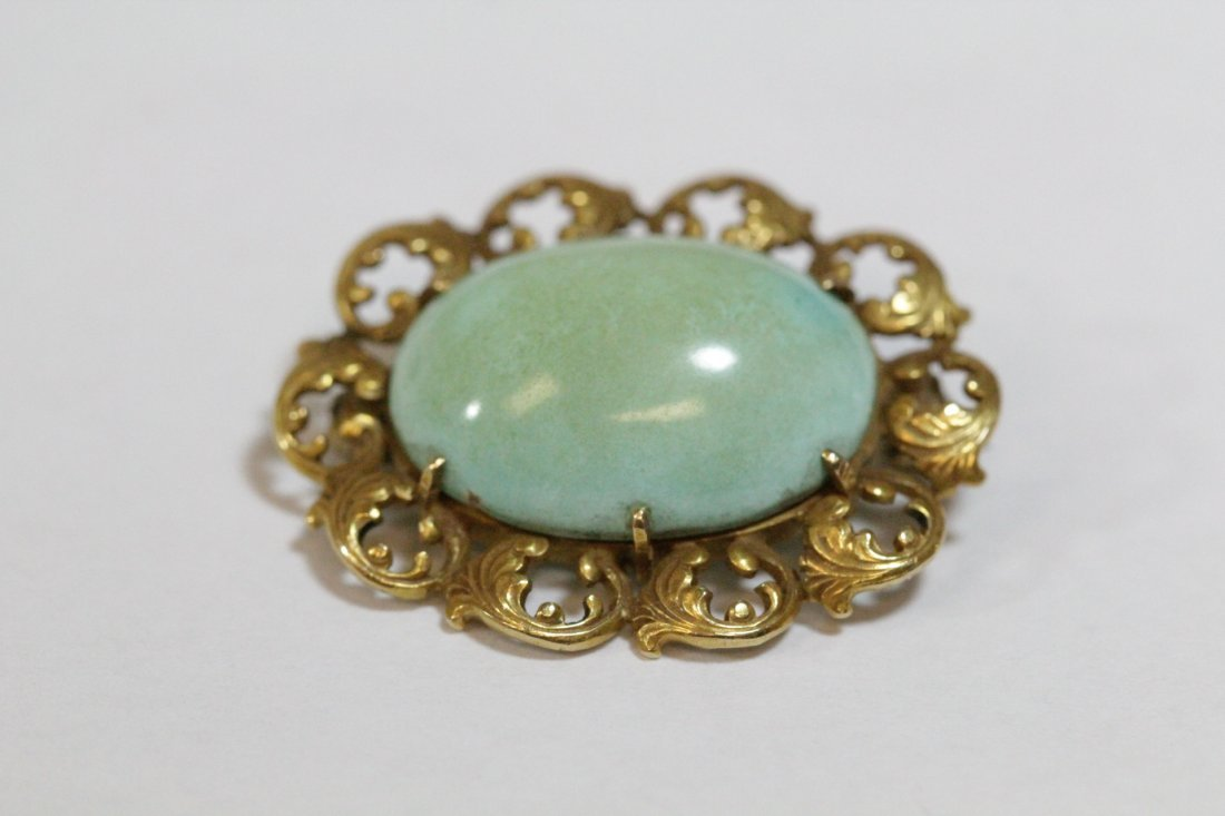 2 Victorian 14K brooches with Persian turquoise - 4