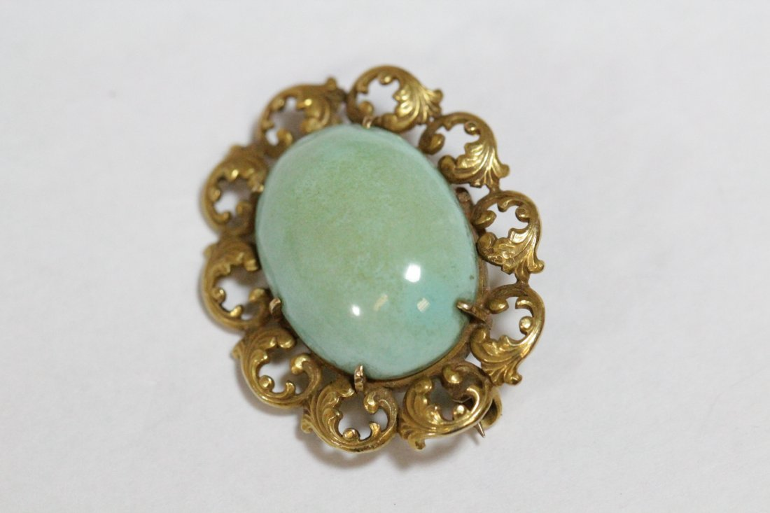2 Victorian 14K brooches with Persian turquoise - 5