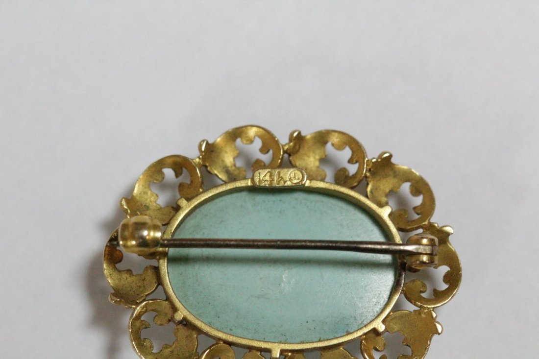 2 Victorian 14K brooches with Persian turquoise - 6