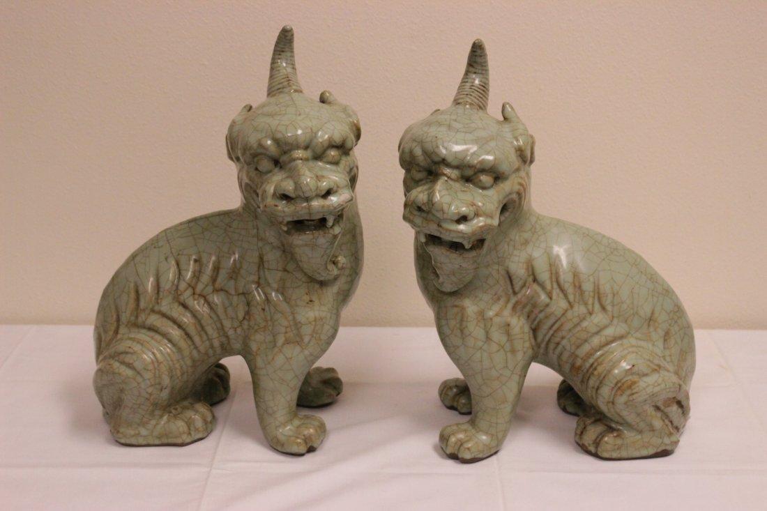 Pair Chinese celadon unicorn beasts