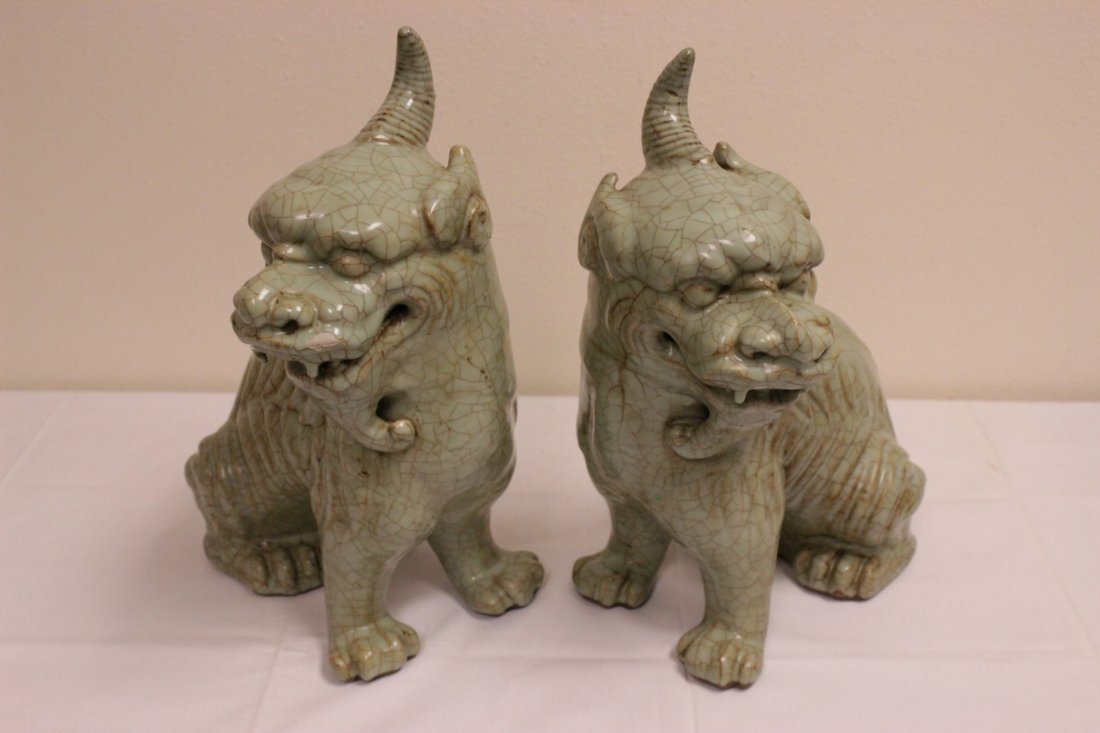 Pair Chinese celadon unicorn beasts - 3