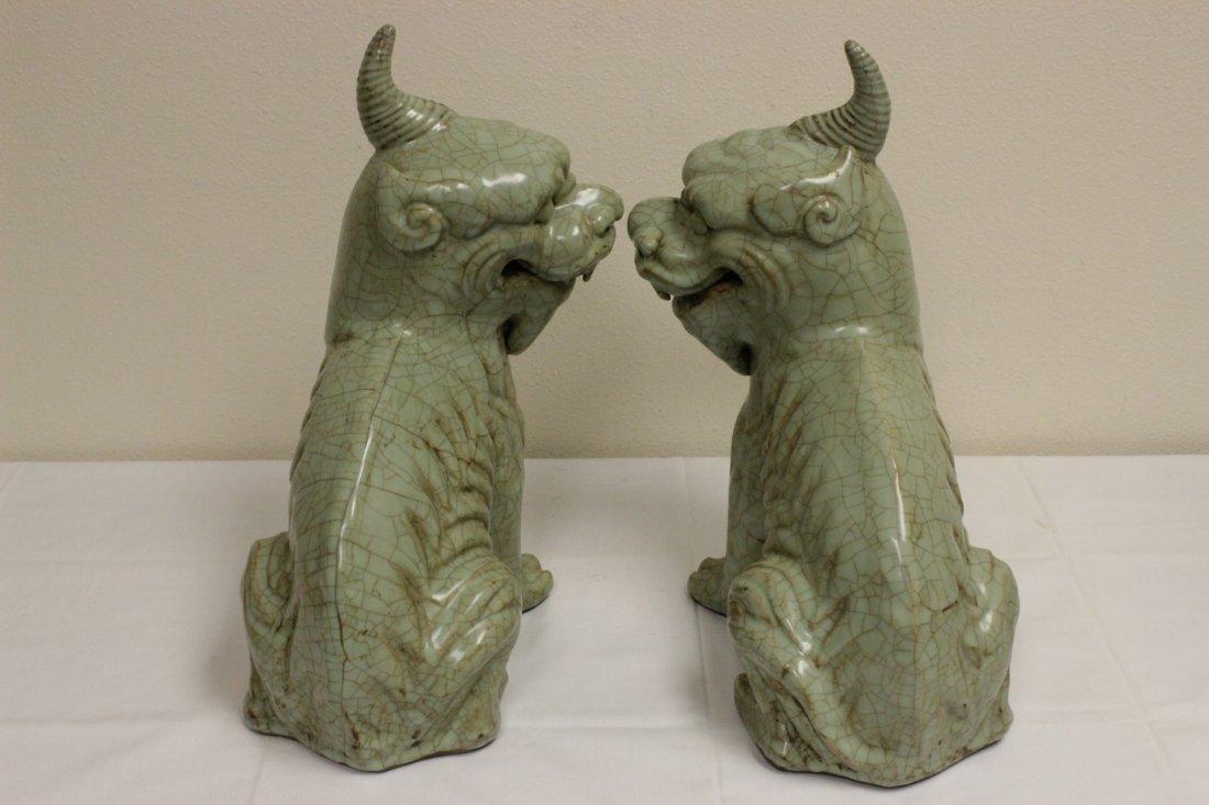 Pair Chinese celadon unicorn beasts - 6