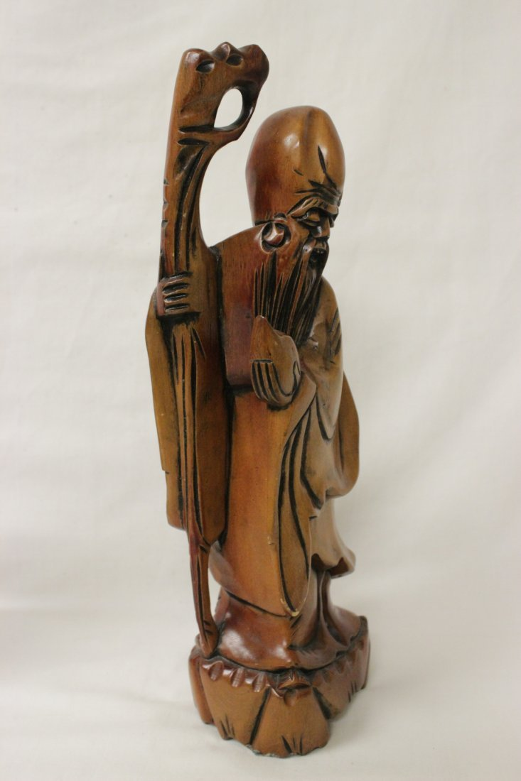 2 Chinese rosewood carved Daoism gods - 3