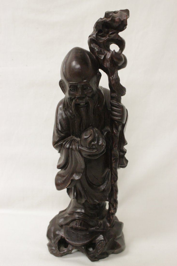 2 Chinese rosewood carved Daoism gods - 6