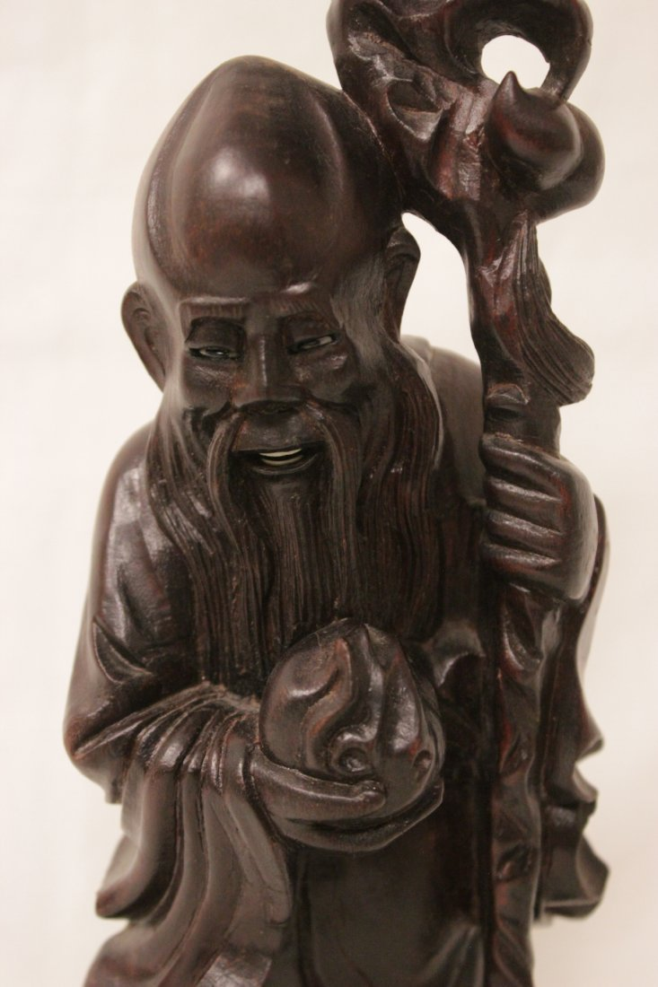 2 Chinese rosewood carved Daoism gods - 9