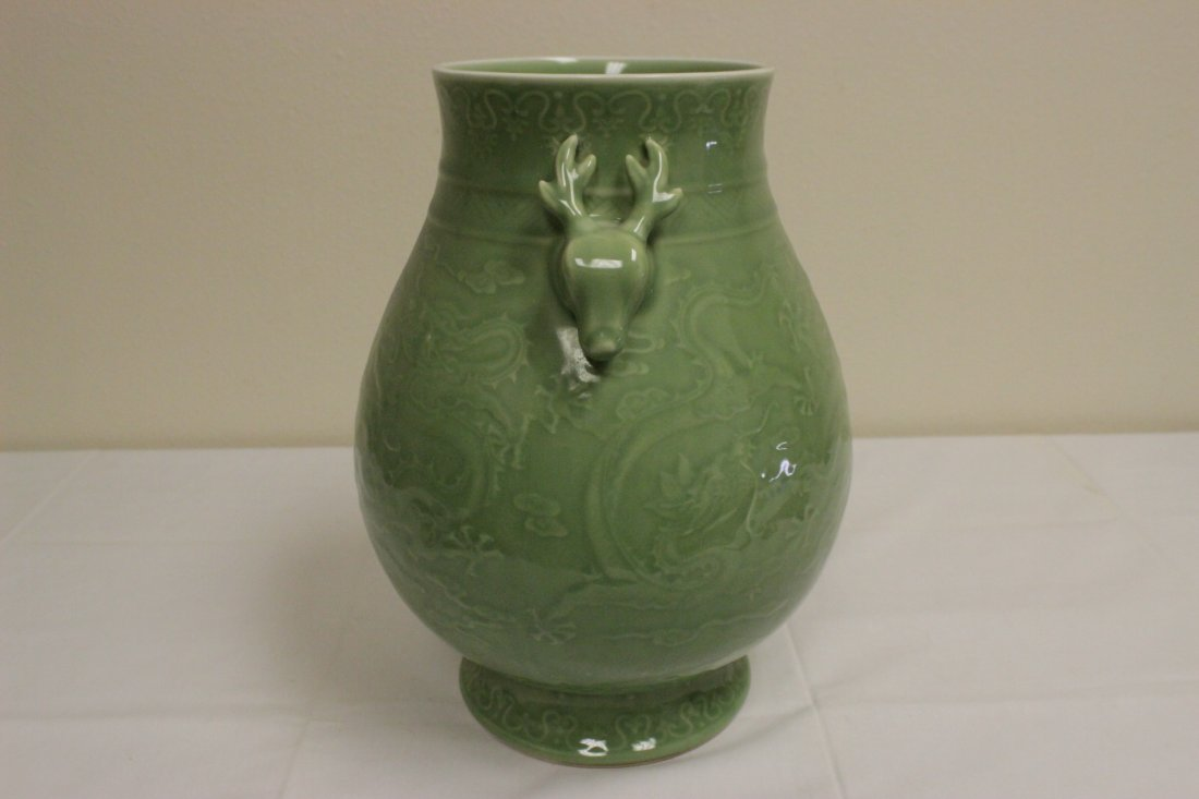 Chinese celadon jar with deer motif handles - 5