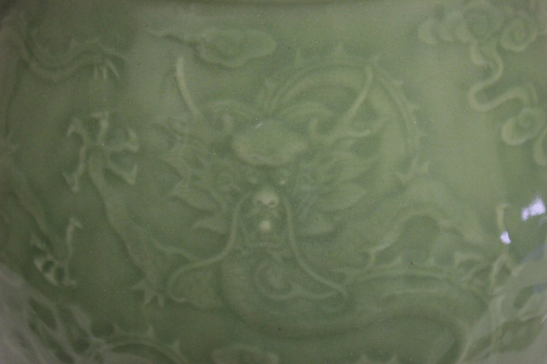 Chinese celadon jar with deer motif handles - 9