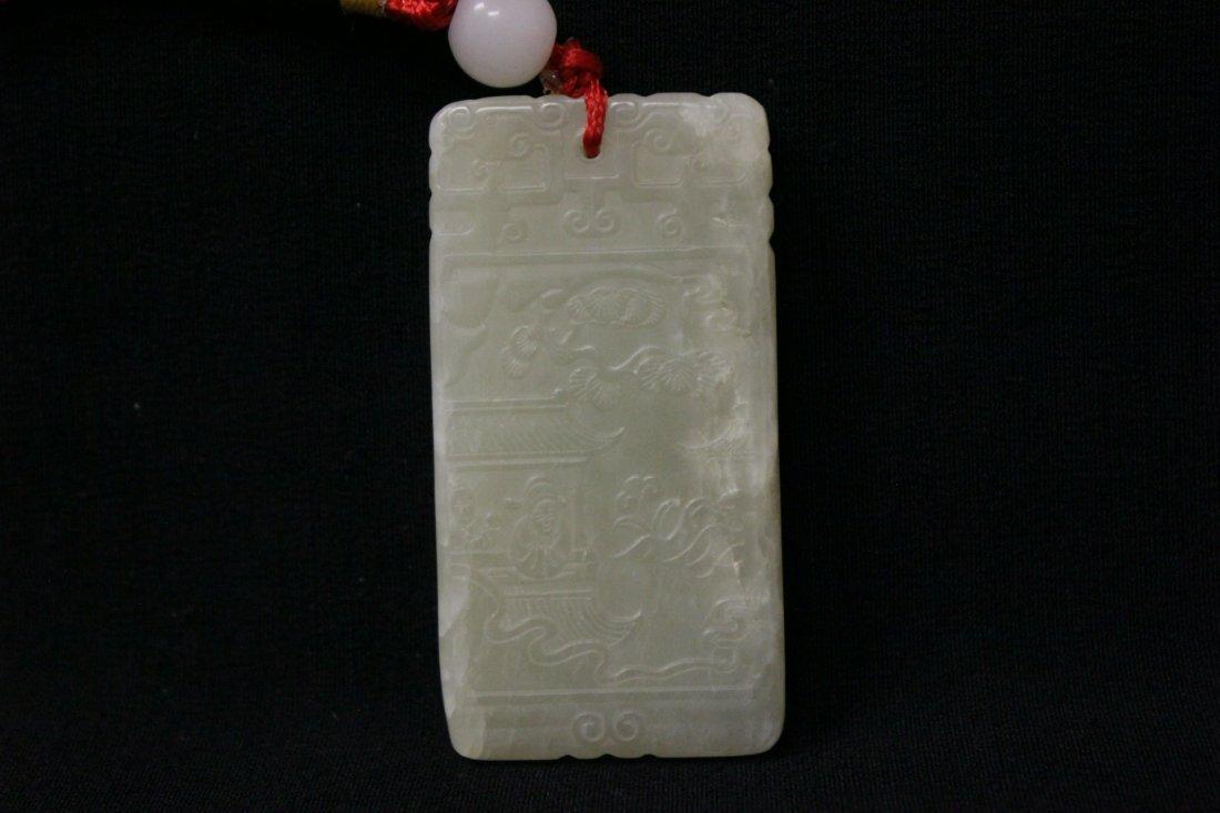 Chinese white jade plaque - 4