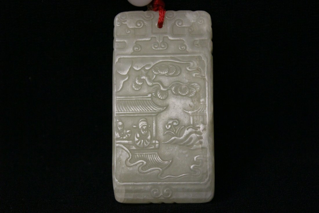 Chinese white jade plaque - 5