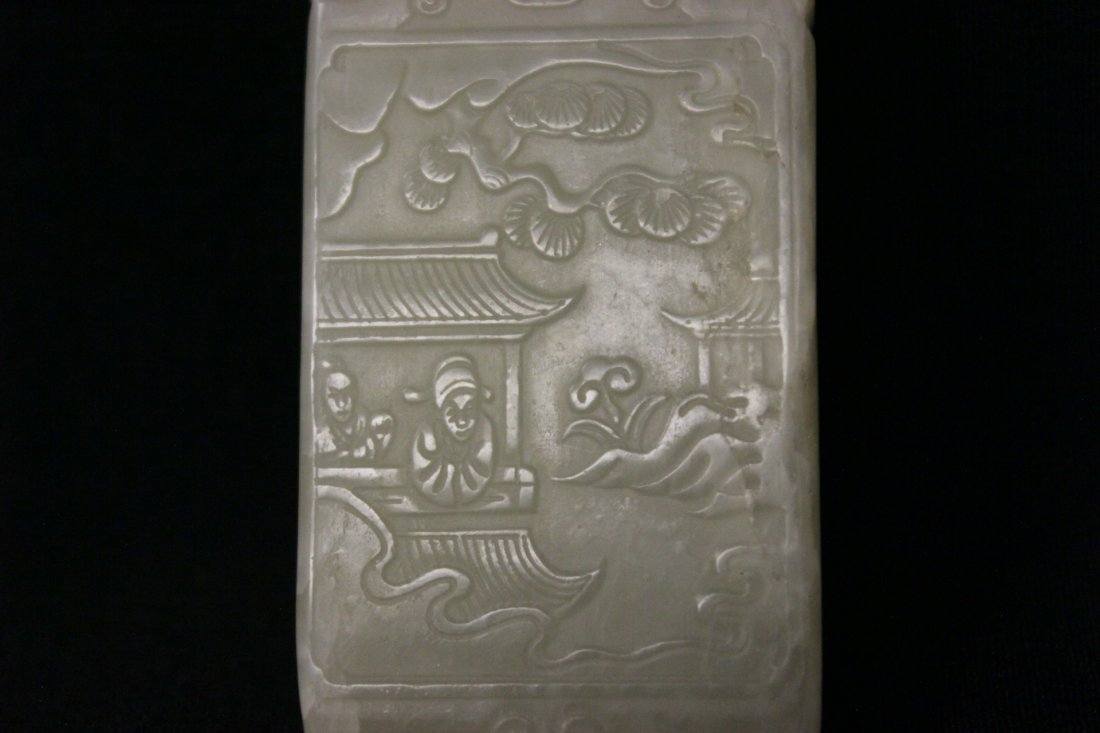 Chinese white jade plaque - 6
